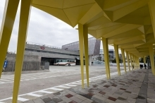 Pedestrian walk path with rain shelters.2